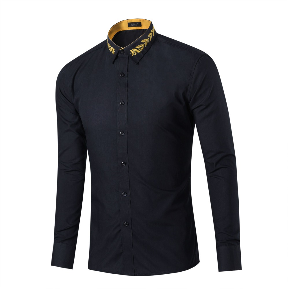 2018 New Spring Autumn Male Long Sleeve Embroidered Collar Shirt