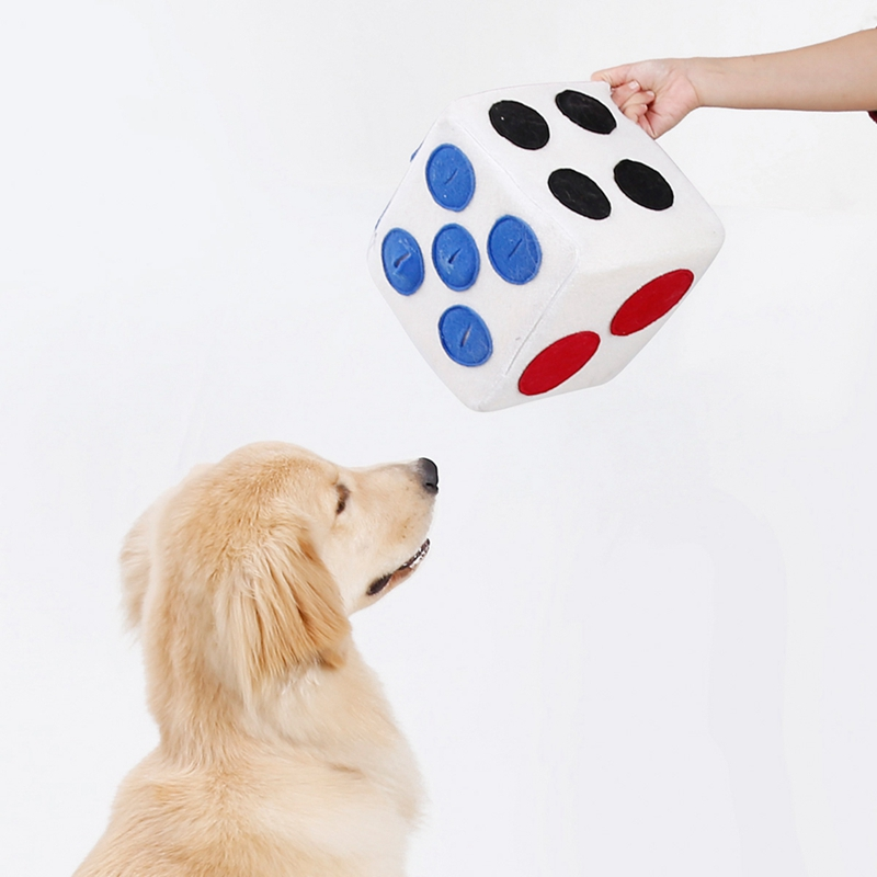 Formation jouet nourriture fuite jouer en peluche dés pour animaux de compagnie chien en peluche dés jouet distributeur d'aliments traiter Puzzle jouet pour chiot chien Intellegent