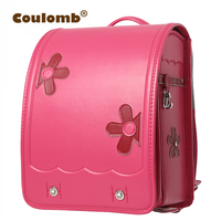 Coulomb Flower School Bag For Girl Orthopedic Backpack For Children Japanese PU Hard box type Hasp Book Bags 2017