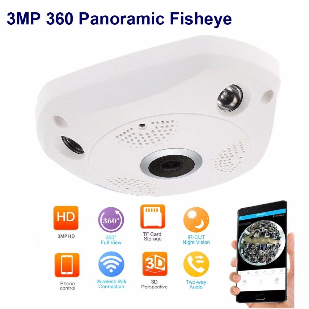3mp рыбий глаз панорамная Ip камера VR Cam Smart 360 градусов беспроводной детектор движения 128 ГБ бортовой записи, IR 35ft Smart App