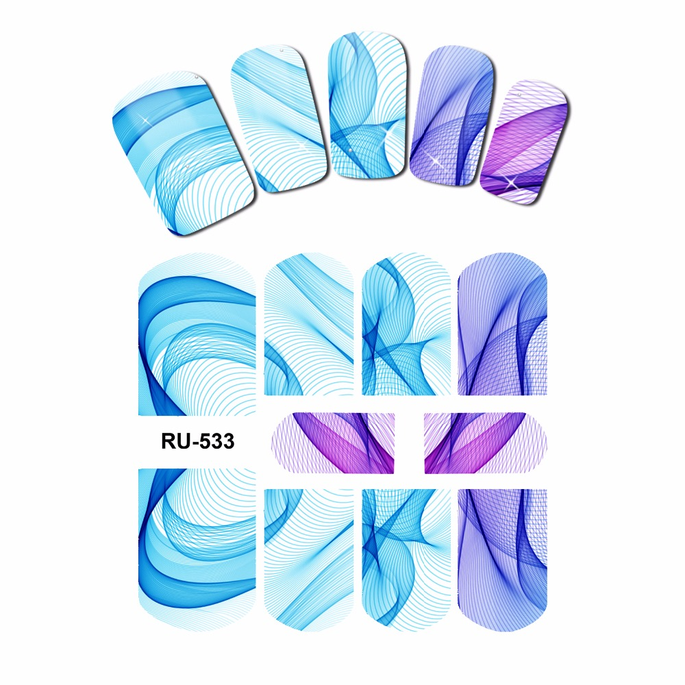 UPRETTEGO NAIL ART NAIL WATER STICKER DECAL FULL COVER RAINBOW MULTI COLORS GRANDIENT SATIN LACE SILK MESH PATTERN RU529-534 4 packs lot full cover white french smile lace tattoos sticker water decal nail art d363 366w