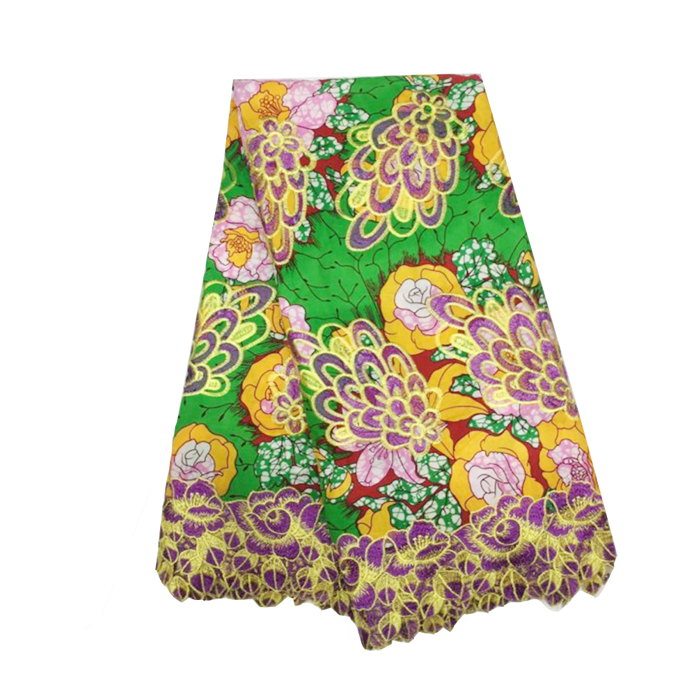 2019 New Arrival Green African Super JAVA Wax Fabric For Dress Veritable Wax Hollandais Ankara Fabric With Embroidery Lace