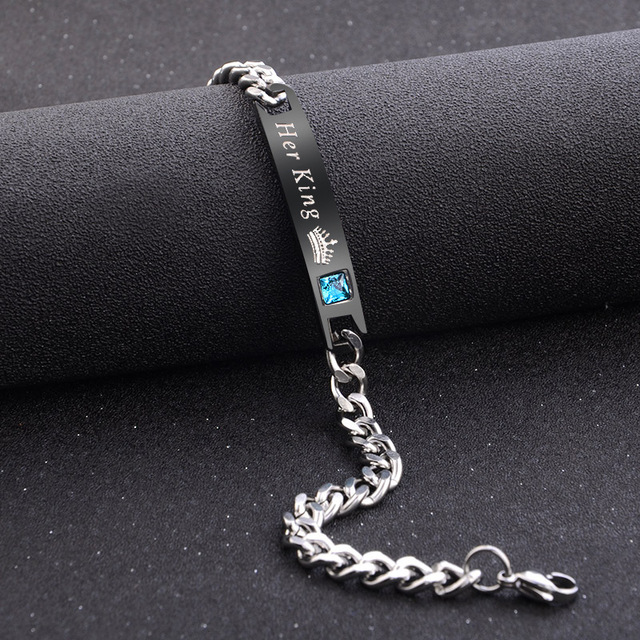 2Pc/Set Queen King Stainless steel Stone Women Man Chain Crystal Couple Bracelet for Men snap jewelry bracelet Pulseira hombres 4