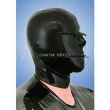 2016 New Sex rubber sexy lingerie Bodysuit Latex Mask Hood Fetish black unisex Hoods Red zipper eyes Mouth Plus Size Hot Sale