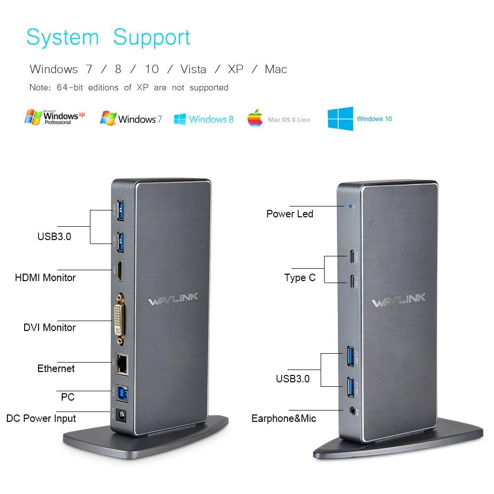 Prix pour Wavlink Full HD 2048x1152 USB 3.0 Type-C & USB-C Station D'accueil Universelle avec RJ45/DVI/HDMI/VGA/MIC/Audio Port DisplayLink ROYAUME-UNI