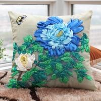 3D Ribbon Embroidery Flower Printed Square Cushion Cover Throw Pillow Pillowcase Car Home Sofa Decorative Pillows