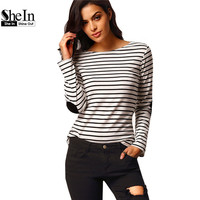SheIn Woman Tops Korean 2016 New Arrivals Brand Vogue Fashion Tees Long Sleeve Black White Elbow