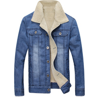 New Fashion Winter Denim Jacket Men Casual Single Breasted High Quality Thick Wool Turn Down Collar