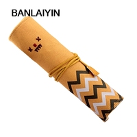 Canvas Roll Smile Make Up Cosmetic Case Bag Pencil Pen Brush Cases Pouch Purse Bags Gift Stationery School Equipment Beige