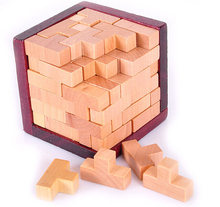 T-shaped 3D IQ Wooden Brain Teaser Tetris Tile-matching Puzzles for Adult