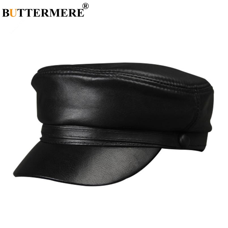 New Black Genuine Leather  Military Cap Adjustable Casual Flat Hat