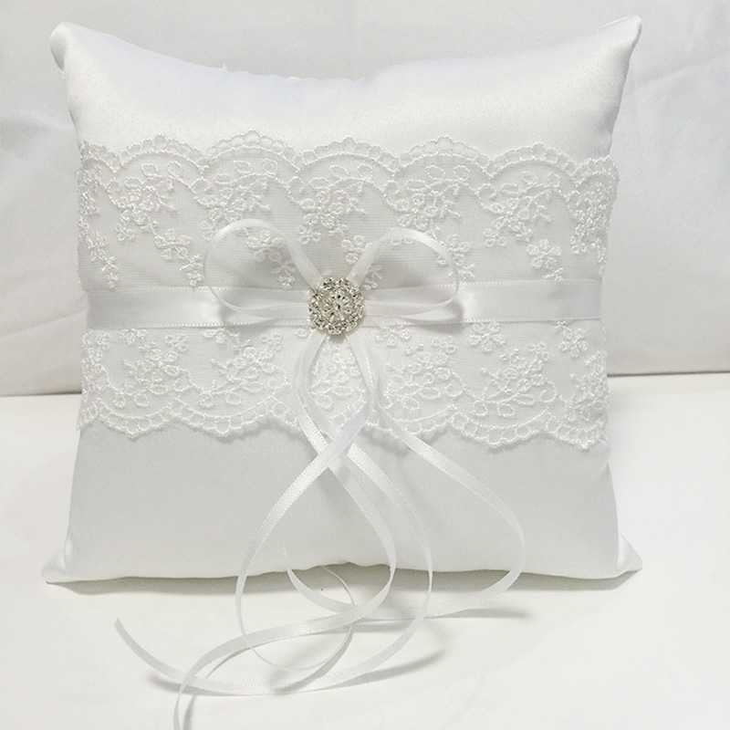 Us 543 32 Offwhite Lace Wedding Ring Pillow Coussin Alliance Bridal Ring Bearer Pillow Cushions Wedding Marriage Ceremony Decorations 18x18cm In