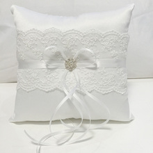 White Lace Wedding Ring Pillow Coussin Alliance Bridal Bearer Cushions Marriage Ceremony Decorations 18x18cm