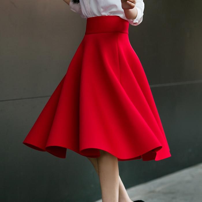 6xl 5xl Plus Size Rok Hoge Taille Rokken Womens Wit Knielengte Bodems Geplooide Rok Kilt Saia Midi Faldas Mujer