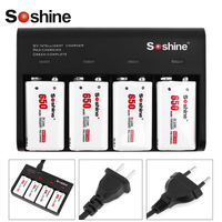 4pcs Soshine 650mAh 9V 6F22 Li ion Rechargeable Battery + 4 Slots Smart Intelligent 9V Battery Charger with LED Indicator