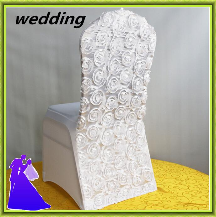 50pcslot wholesale price spandex rosette satin chair cover for wedding home chair decor free shipping