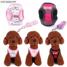 SYDZSW Fashion Printed Dog Vest Harness Leads Yorkie Dog Leash for Small Dogs Puppy Pet Products Chihuahua Accessories Wholesale