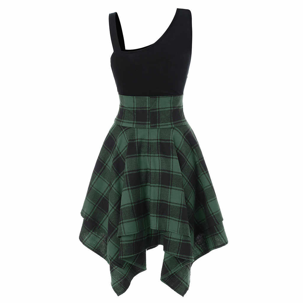 FREE OSTRICH Fashion Women Sleeveless Cold Shoulder Cross Lace Up Plaid Print Irregular Dress colorful Off Shoulder Female