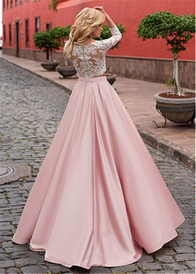 Image 3 - Fashionable Satin Jewel Neckline A Line Two piece Wedding Dress With Lace Appliques Pink 3/4 Sleeves Bridal Dresses