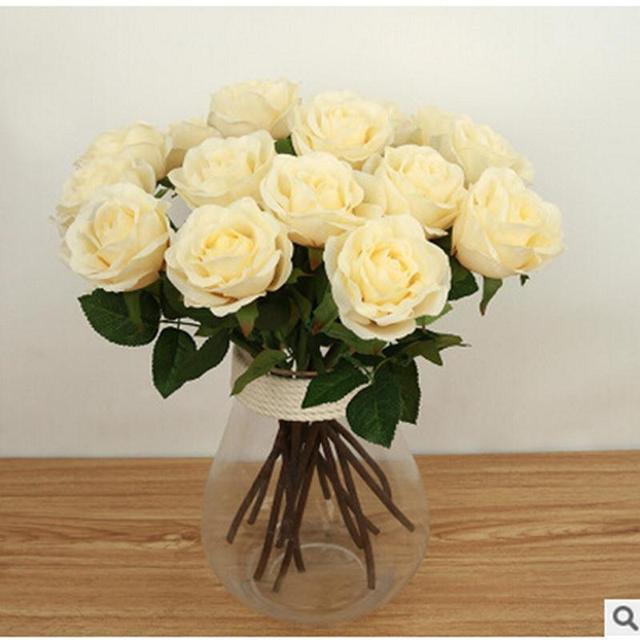 d2948e30857e7b 6 Sztuk/partia 7 Kolory Sztuczne Kwiaty Róży Dotykowy Rzeczywistym Rose  Kwiaty Home Dekoracje Na