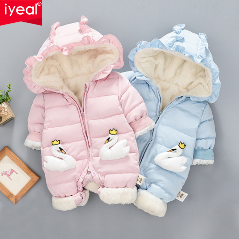 все цены на IYEAL Newest Winter Princess Baby Girl Clothes 3D Swan Pattern Thicken Warm Hooded Kids Baby Jumpsuit Newborn Infant Girl Romper онлайн
