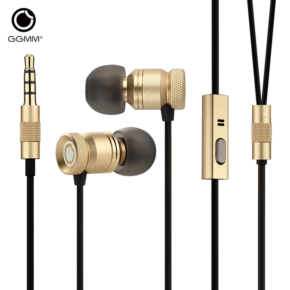 Original GGMM EJ102 Nightingale Super Bass Dynamic Stereo Headsets 3.5mm Plug Full Metal Earphones Headphone With Microphone ggmm ej102 nightingale in ear earphones dynamic stereo golden