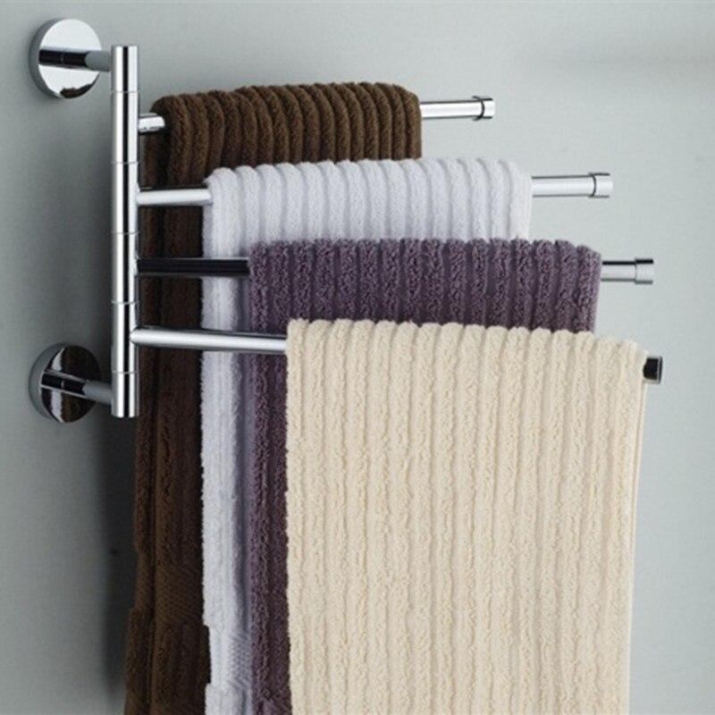 Barra de toalla del acero inoxidable giratoria baño cocina Toalla de pared Rack titular pulido accesorios de Hardware
