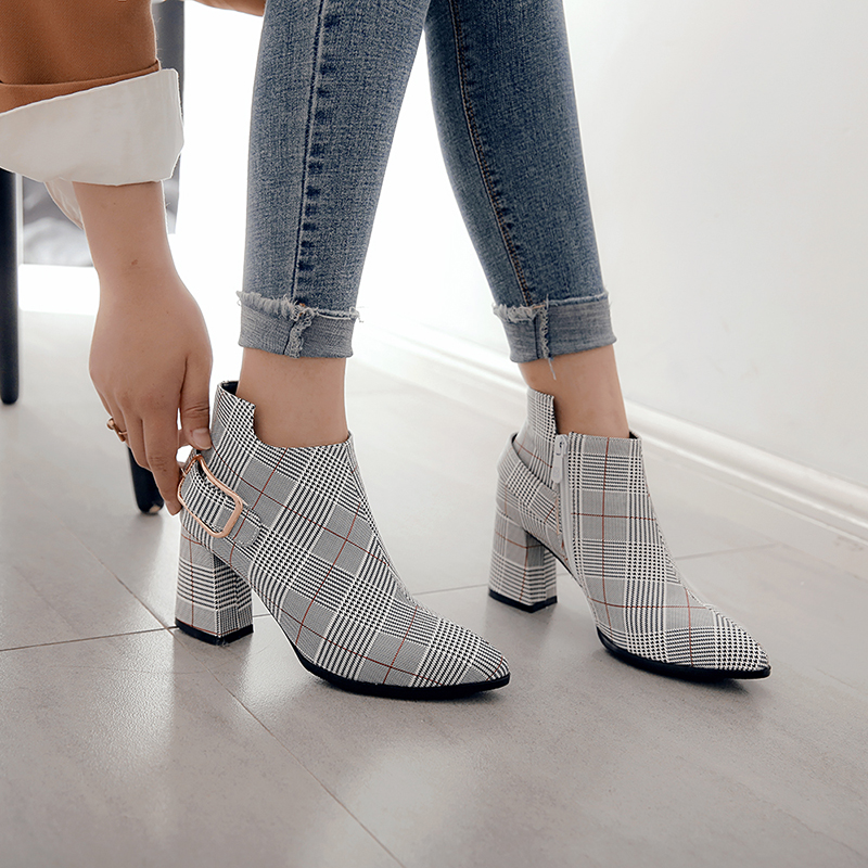Women's Boots, Fashion Plaid Pointed Toe High Heels, Winter Ankle Boots 6