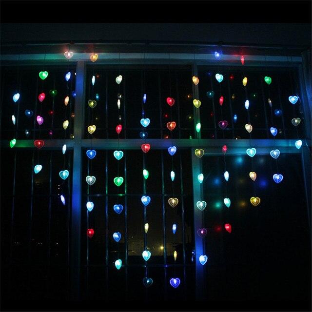 € 23.32 25% de réduction|LED en forme de coeur LED chaîne lumière 1.85 M 12  Droop amour LED rideau chaîne lumière fée lumières pour ...