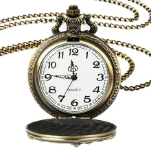Roman digital quartz necklace pocket watch retro bronze gold steampunk motorcycle pocket watch chain men's and women's clock недорого