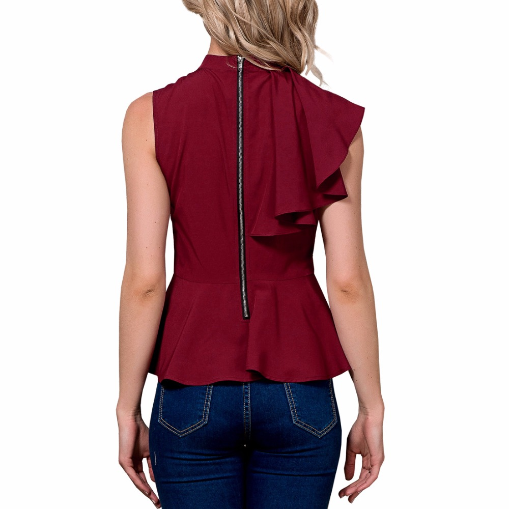 Aliexpress.com   Buy 2018 mango ysysnew Women Ruffle Tops Blouse O neck  Collar short Shirts Lady Summer solid night club Blouses wine red color  from ... 88d8ddcb8433