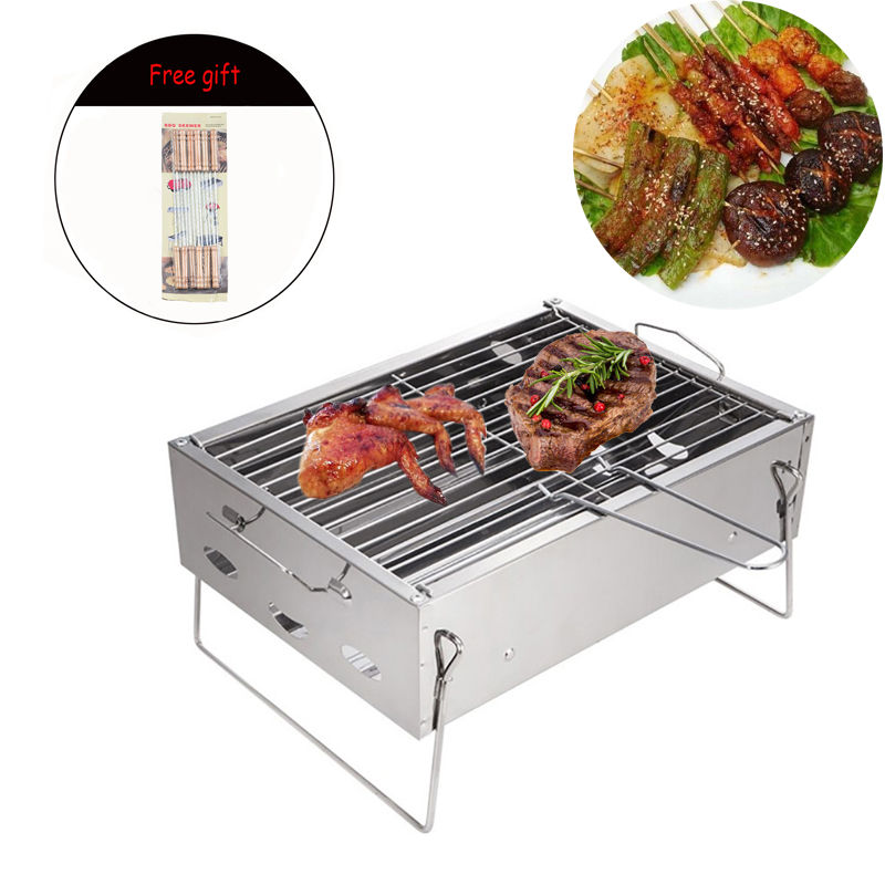 Thicken Stainless Steel BBQ Oven Outdoor Home Folding Cooking Grid Portable BBQ Grill Oven Cookware Picnic Stoves Kitchen Tool