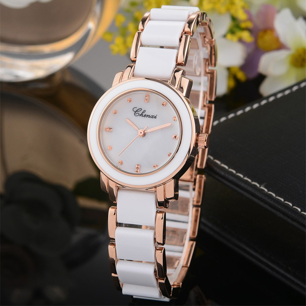 CHENXI Women watches New Style White Ceramic Quartz Wristwatch Luxury Brand Fashion Ladies Watch Women Quartz Watch Clock NATATE женское бикини colloyes 2015 zcbk1405