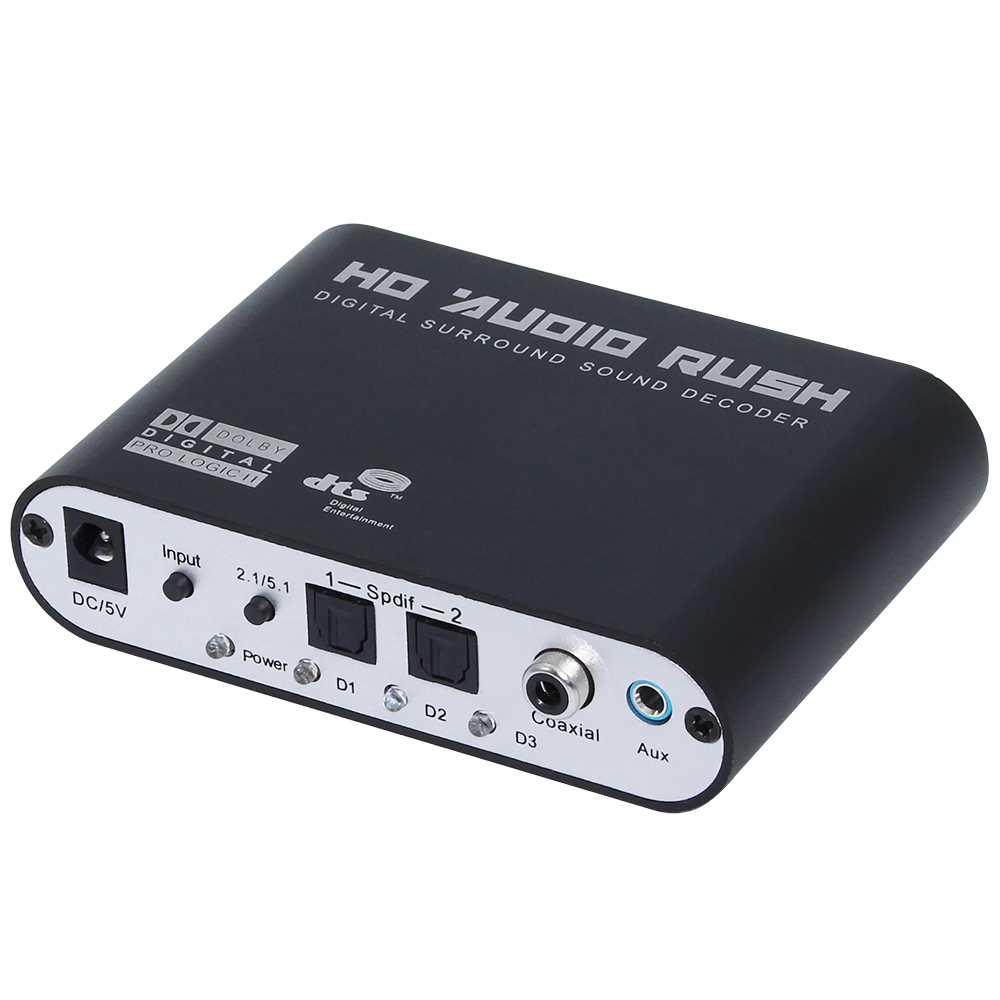 Digital AC3 Optical Fiber to Stereo Surround Analog HD 5.1 Audio Decoder 2 SPDIF Ports HD Audio Rush for HD Players/DVD/XBOX360 rush rush signals blu ray audio