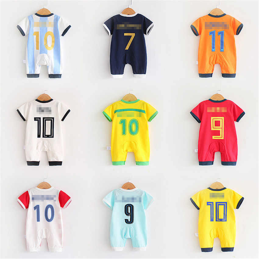 07c39845640 2018 Infant Baby Clothing Set Short Sleeve Romper for Children Sports Suits Soccer  Jerseys Football Uniform