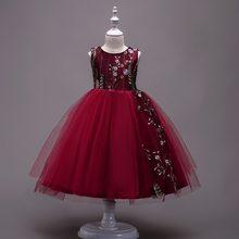 O Vestido da menina Elegante Bordado Floral Princesa Vestidos Da Menina de Flor vestido de Baile Vestido de Alta Qualidade Vestido Vermelho roupas infantis de menina