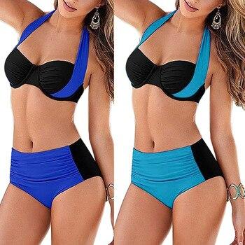 Brazilian 2018 Sexy Bikini Women Push-up Padded Bra High Waisted Bathing Suits Swim Halter Push Up Bikini Set Plus Size Swimwear 4