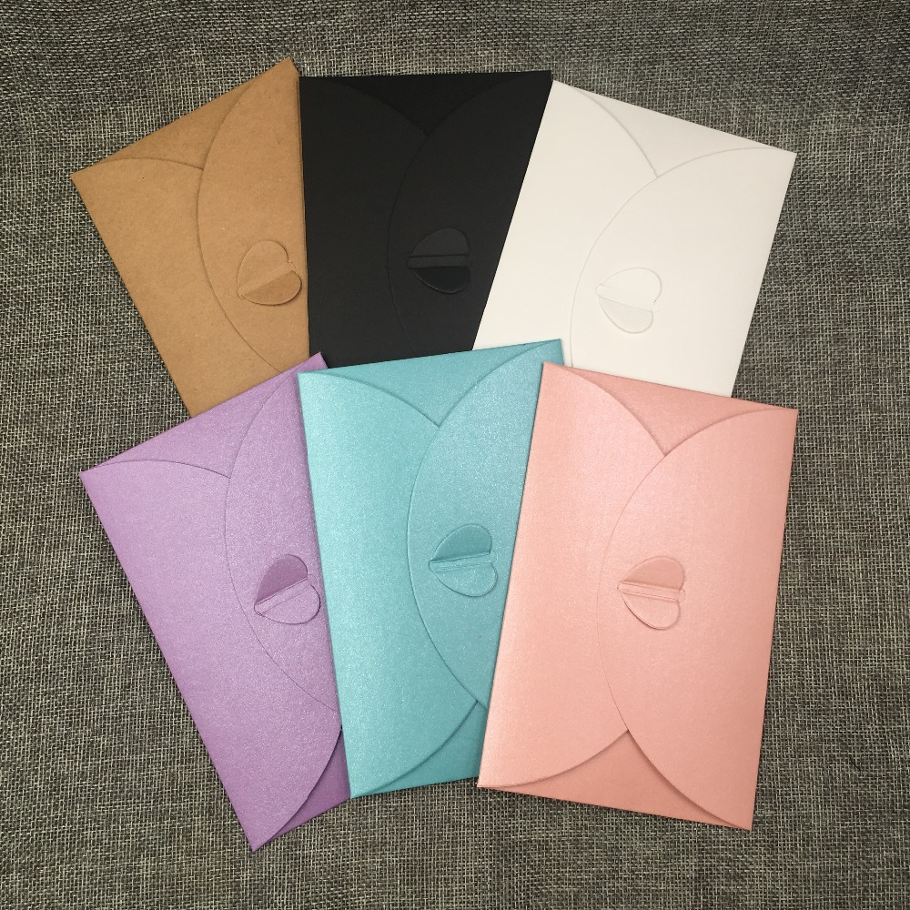 20Pcs/Lot 15x10cm Heart Kraft Paper Cardboard For Jewelry/Photo/Poster Carrying Bags Multi Color Choice Cover Envelope Boxes