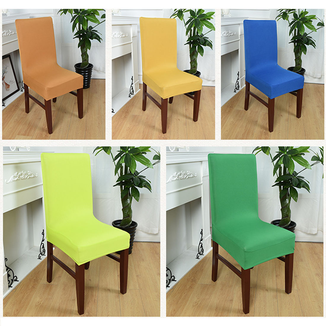 Wholesale Dining cadeira Spandex Strech Dining Room Chair Covers Protector Slipcover Decor housse de chaise for sillas bone