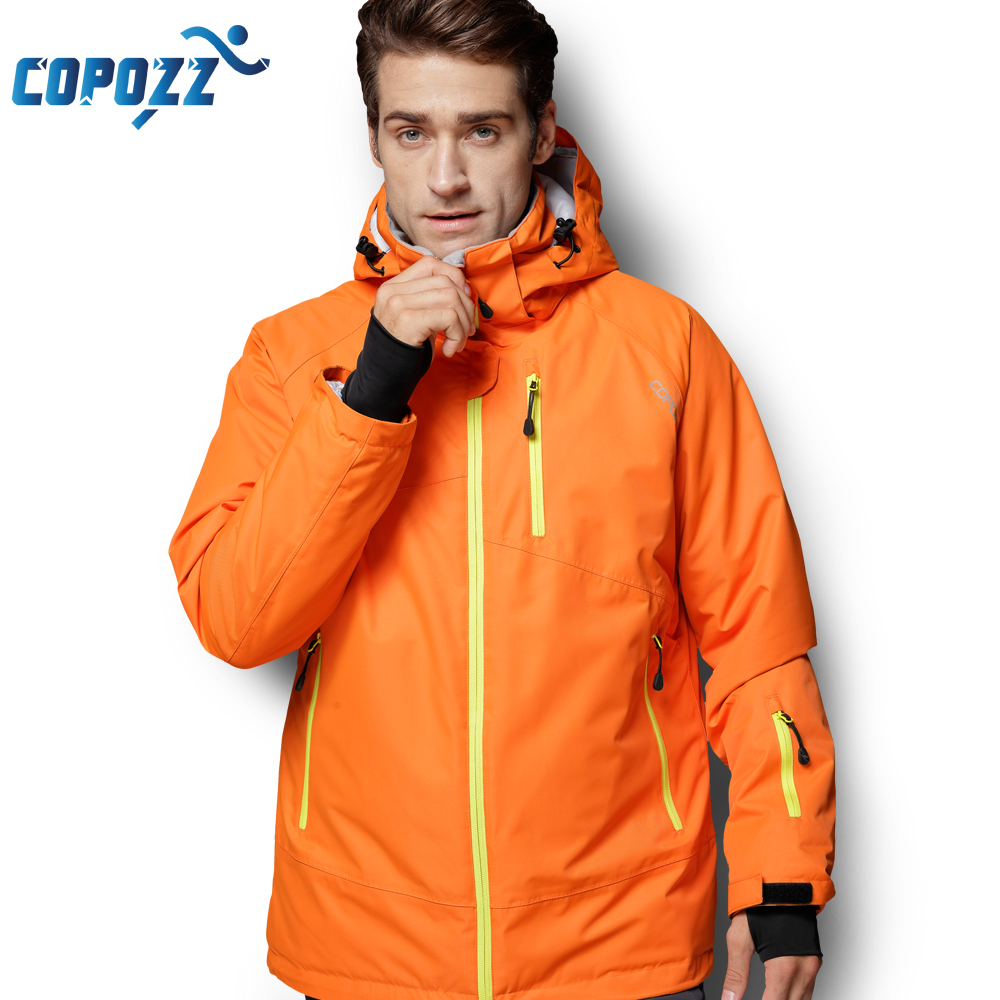 COPOZZ Snowboard Ski Jacket Men Winter Hooded Warm Parkas Waterproof Male Snow Jacket for Hiking Camping