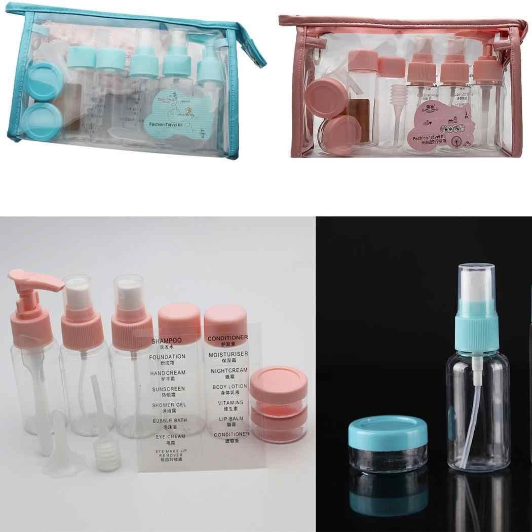 11 шт Портативные мини Косметические многоразовые бутылки синие, розовые контейнеры для жидкости для путешествий из Китая