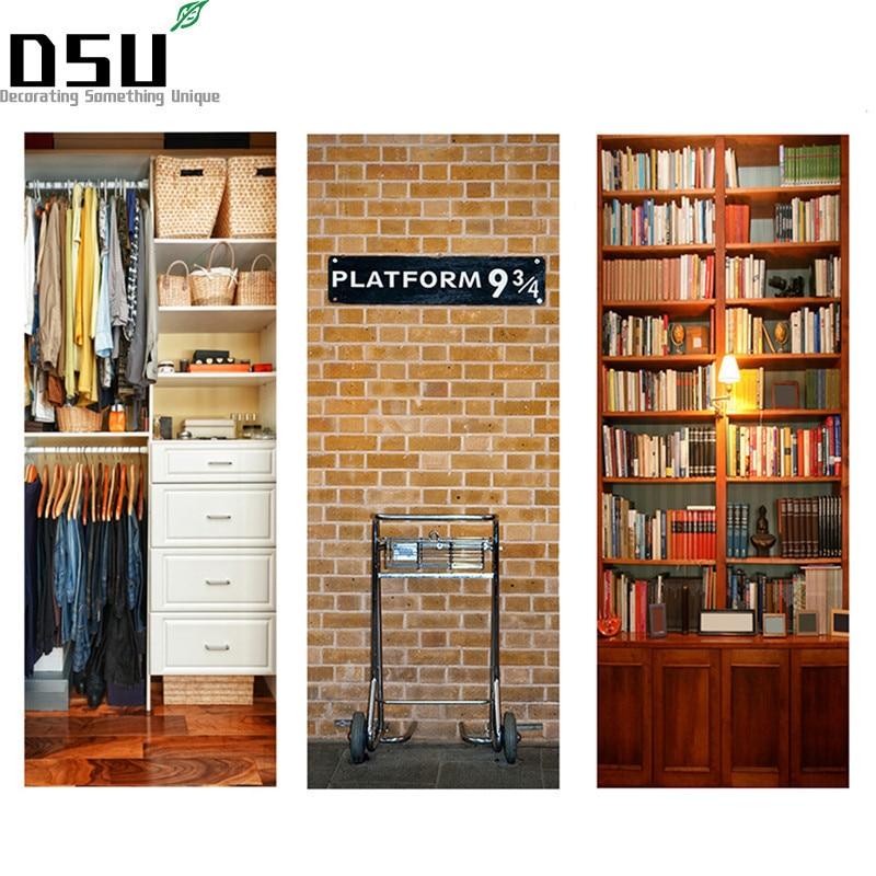 DIY 3D Door Stickers Bookcase Pattern Self Adhesive Waterproof Door Murals Bedroom Home Decor Poster Refrigerator Wall Sticker