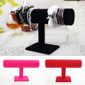 2017 Hot Sale Style 1pc only Black  Velvet Bracelet Chain Watch Holder T bar Rack Jewelry Display Organizer Stand Holder