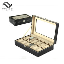 TTLIFE 12 Grids Standard Version of The Watch Storage Box PU Leather Jewelry Bracelets Necklace Earrings Display Tray Organizer free shipping standard 12 grids leather watch display box black brand watches box upscale solid watch storage jewelry box d247