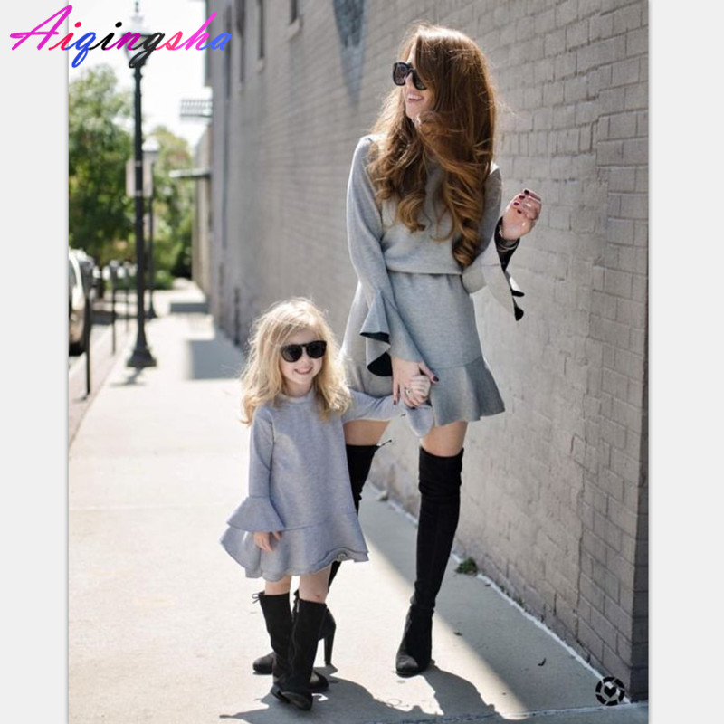 Mother Daughter Dresses 2018 Winter Family Matching Outfits Family Clothing  Christmas Pjs Pajamas Mommy And Me Dresses Clothes