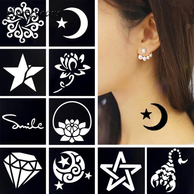 10 Pieces Diamond Flower Pattern Small Henna Tattoo Stencil Airbrush Painting For Women Wrist Body Art Tool Tattoo Template G#01