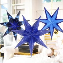 Paper Crafts Blue Cut-out Paper Star Lantern Hanging Decoration for Christmas Wedding Home Holiday Showers  Birthday Party Decor hanna olechnowicz terapia dzieci z niepełnosprawnością intelektualną