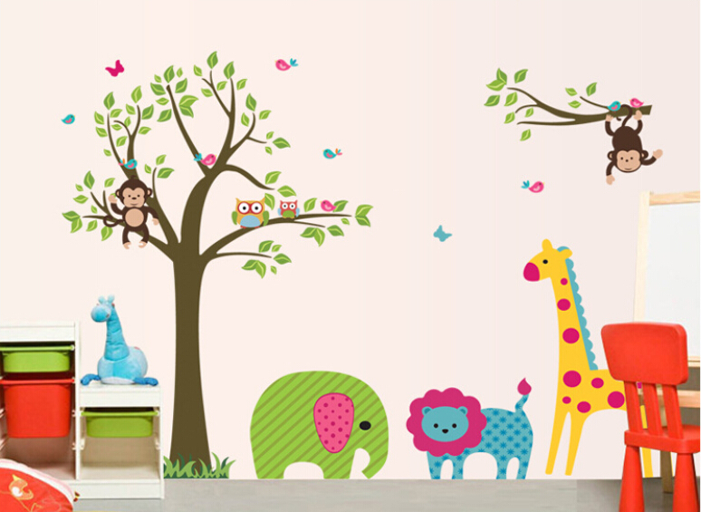 Kids Bedroom Sticker Wallpaper Wall Stickers Living Room Decals Giraffe Elephant Monkey Home Decoration Art DIY In From
