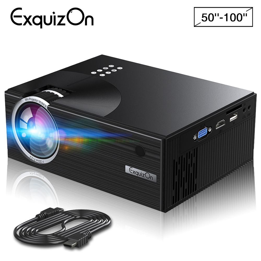Exquizon C7 1800 Lumens LED Video Projector Portable LCD Projector For Home Cine