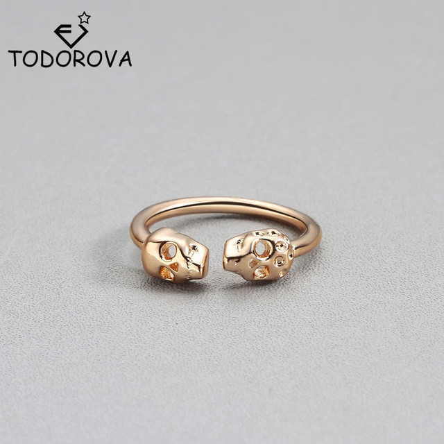 Todorova Unique Adjustable Mens Rings Punk Style Gold Color Double Skeleton Skull Knuckle Rings for Women Midi Finger Rings